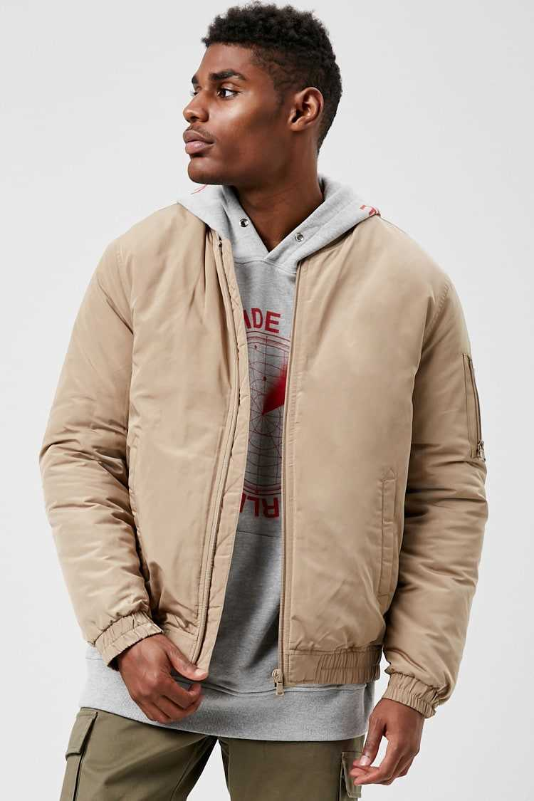Forever21Men's Quilted Lined Bomber Jacket - Taupe UK - GOOFASH