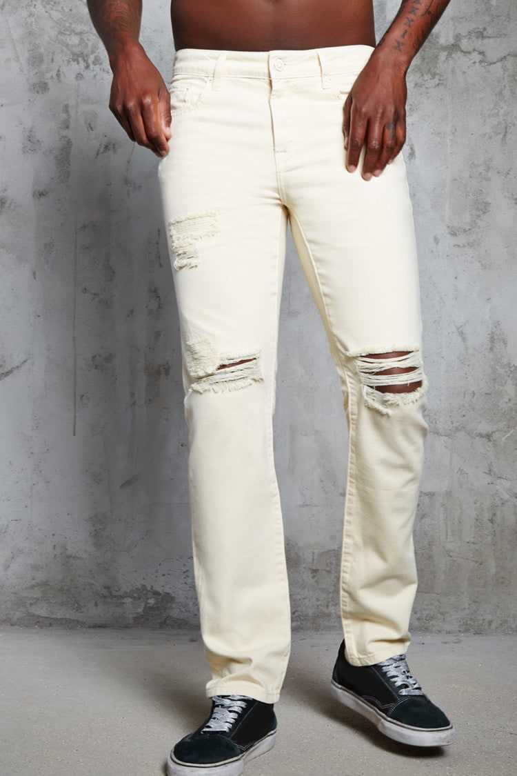 Forever21Men's Slim-Fit Distressed Jeans - Yellow UK - GOOFASH