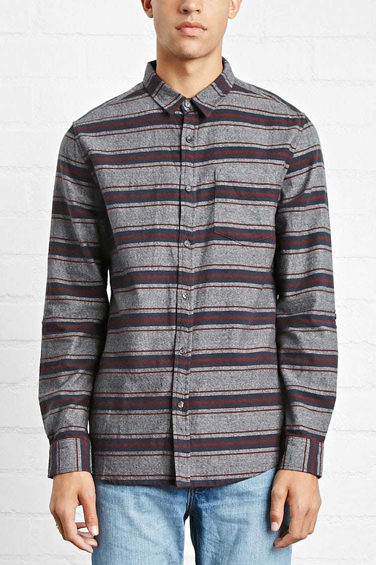 Forever21Men's Slim-Fit Striped Cotton Shirt - Blue/Burgundy UK - GOOFASH