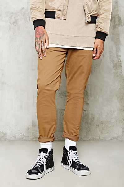 Forever21Men's Slim-Fit Woven Trousers - Brown UK - GOOFASH