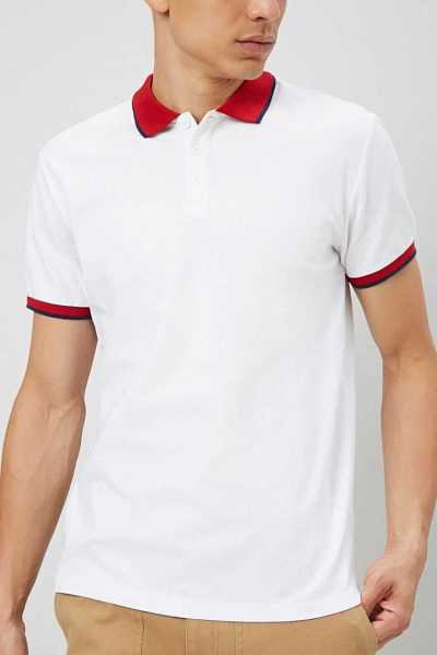 Forever21Men's Striped Contrast-Trim Polo Shirt - White/Red UK - GOOFASH