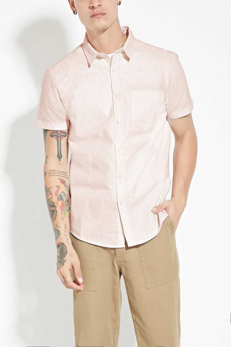 Forever21Men's Striped Cotton Shirt - Pink/White UK - GOOFASH