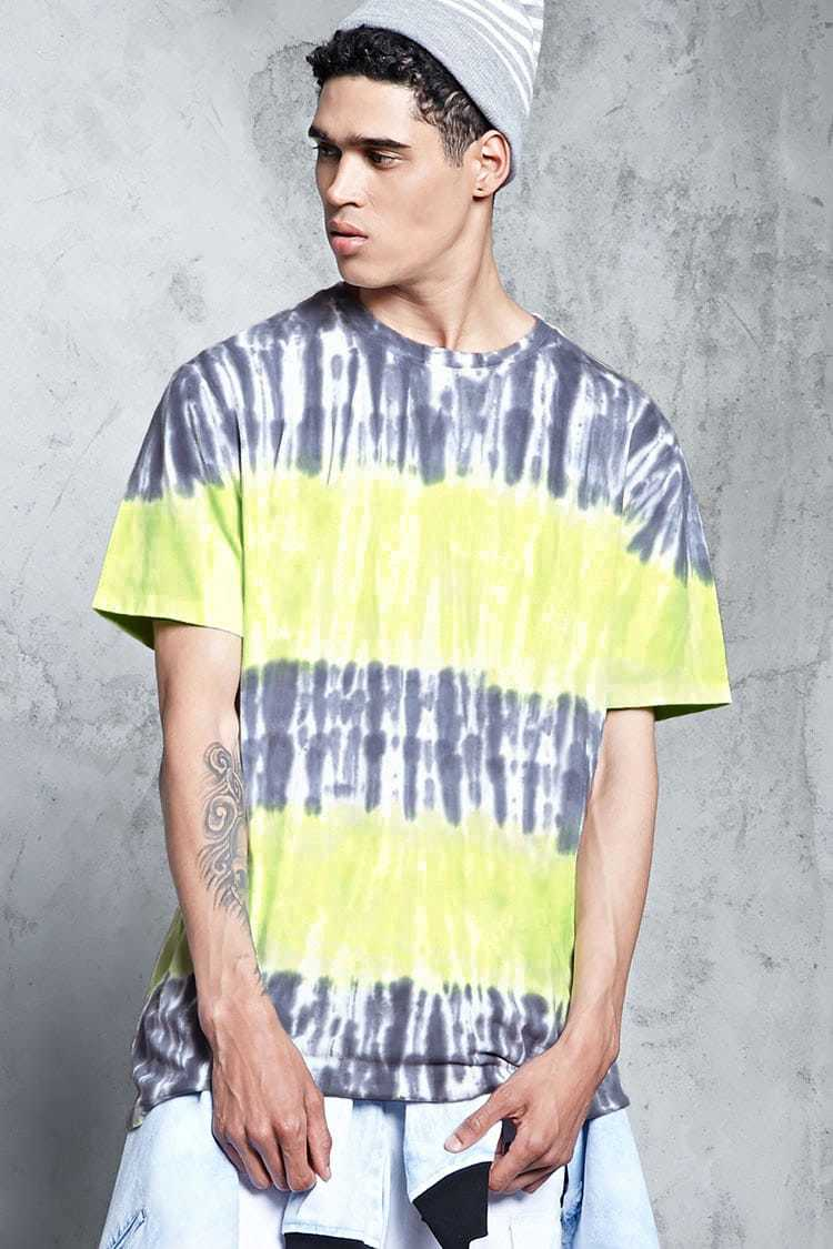 Forever21Men's Tie-Dye Crew Tee Shirt - Blue/Green UK - GOOFASH
