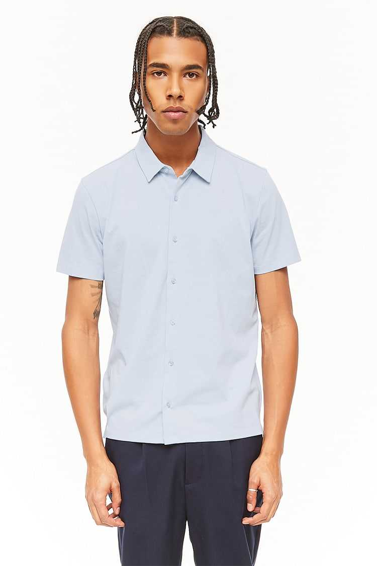 Forever21Men's Vented Hem Shirt - Light Blue UK - GOOFASH