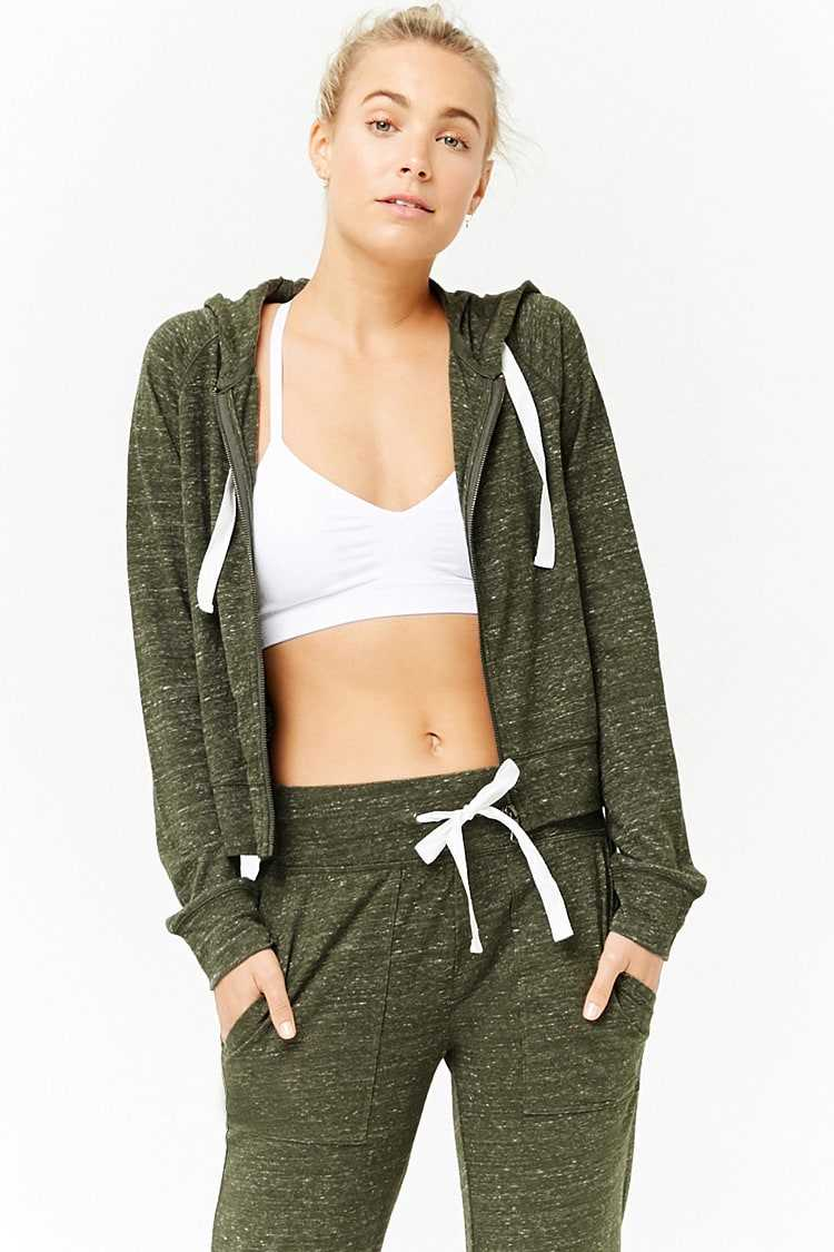 Forever21Women's Active Heathered Knit Zip-Up Hoodie - Olive UK - GOOFASH