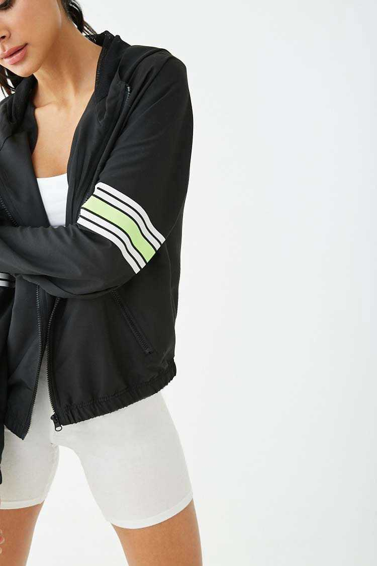 Forever21Women's Active Hooded Striped-Trim Jacket - Black/Neon Yellow UK - GOOFASH