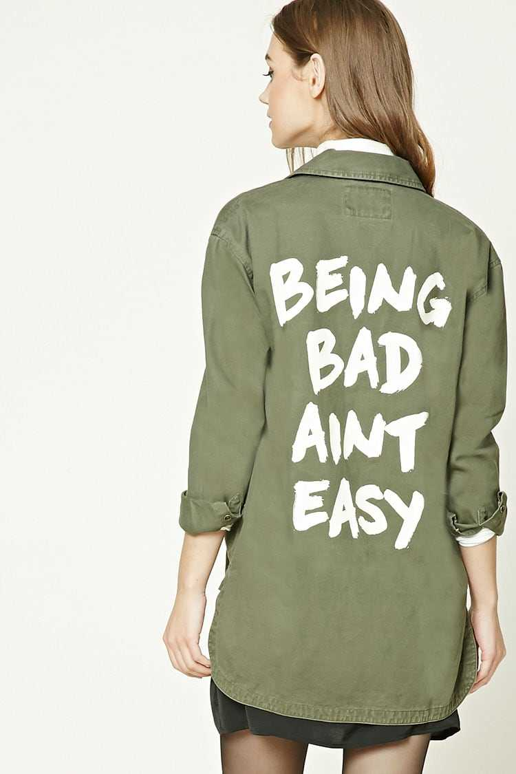 Forever21Women's Being Bad Aint Easy Jacket - Olive UK - GOOFASH