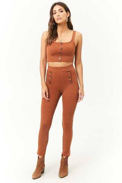 Forever21Women's Button-Front Skinny Knit Trousers - Rust UK - GOOFASH