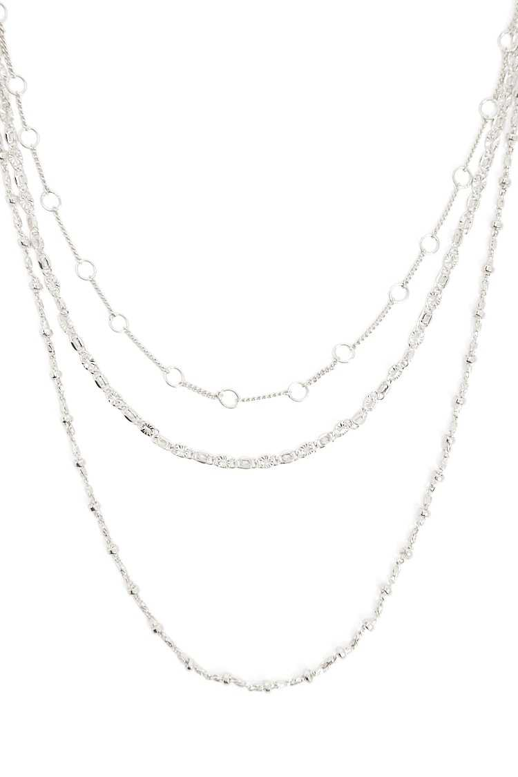 Forever21Women's Etched Necklace Set - Silver UK - GOOFASH