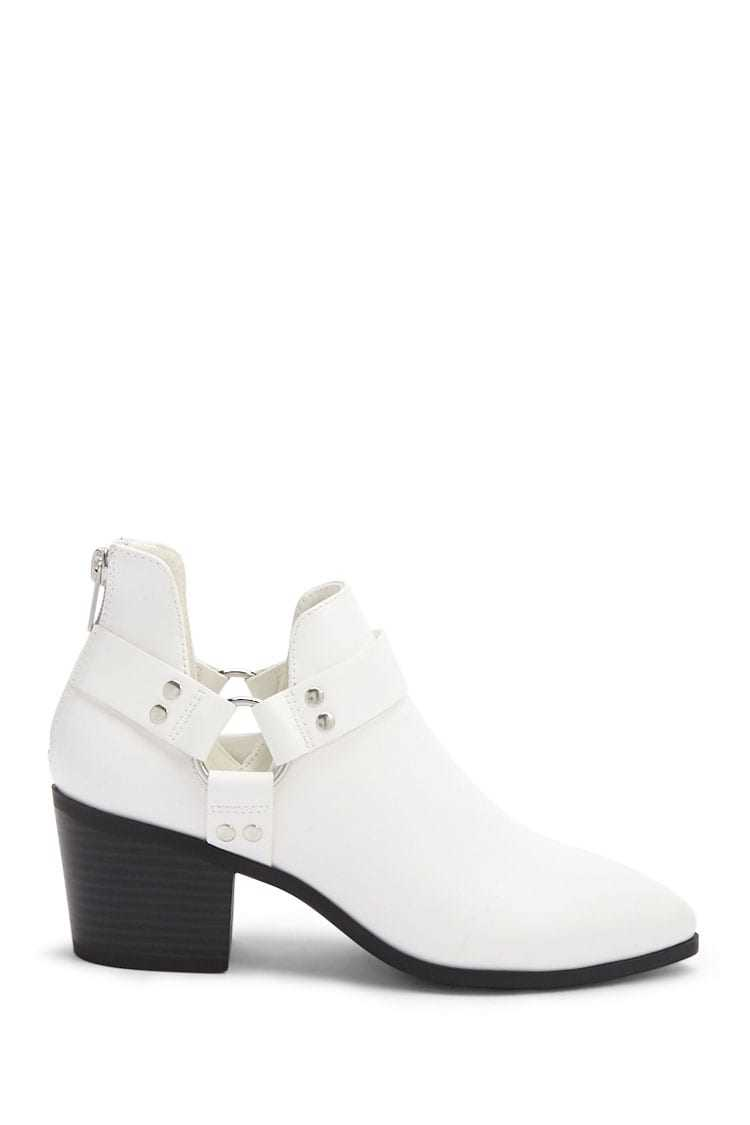 Forever21Women's Faux Leather Ankle Boots - White UK - GOOFASH