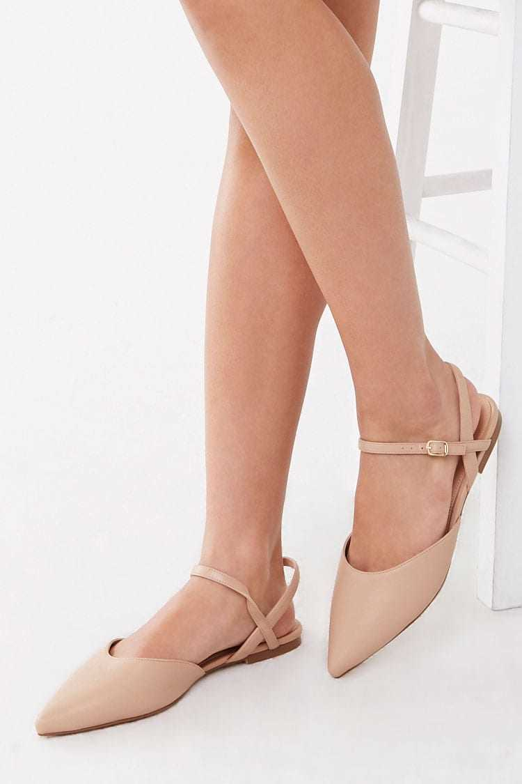 Forever21Women's Faux Leather Strappy Flats - Taupe UK - GOOFASH