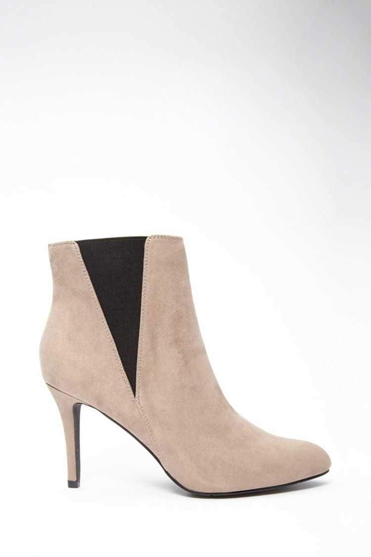 Forever21Women's Faux Suede Ankle Booties - Light Grey UK - GOOFASH