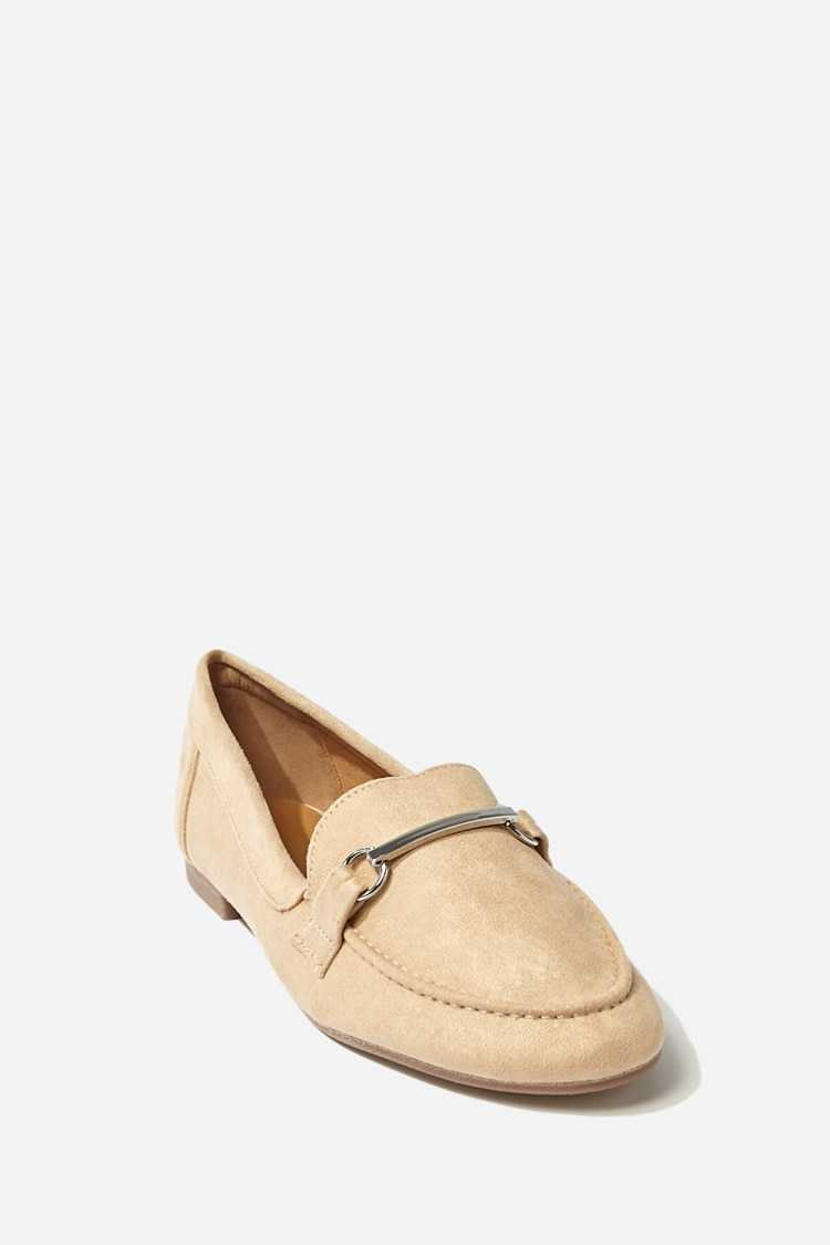 Forever21Women's Faux Suede Bar-Accent Loafers - Taupe UK - GOOFASH