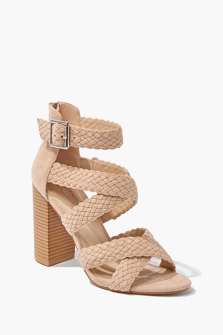 Forever21Women's Faux Suede Braided Heel Sandal - Taupe UK - GOOFASH