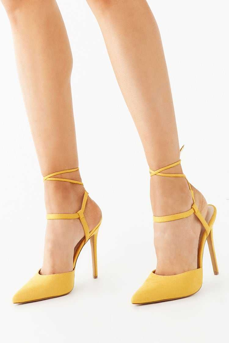 Forever21Women's Faux Suede Lace-Up Pumps - Mustard UK - GOOFASH