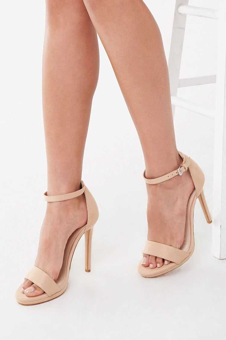 Forever21Women's Faux Suede Stiletto Heel Sandal - Taupe UK - GOOFASH