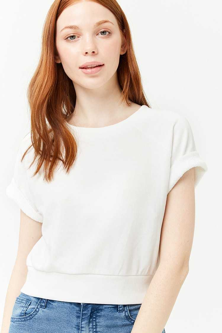 Forever21Women's French Terry Knit Top - White UK - GOOFASH