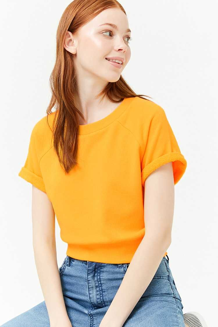Forever21Women's French Terry Knit Top - Yellow UK - GOOFASH