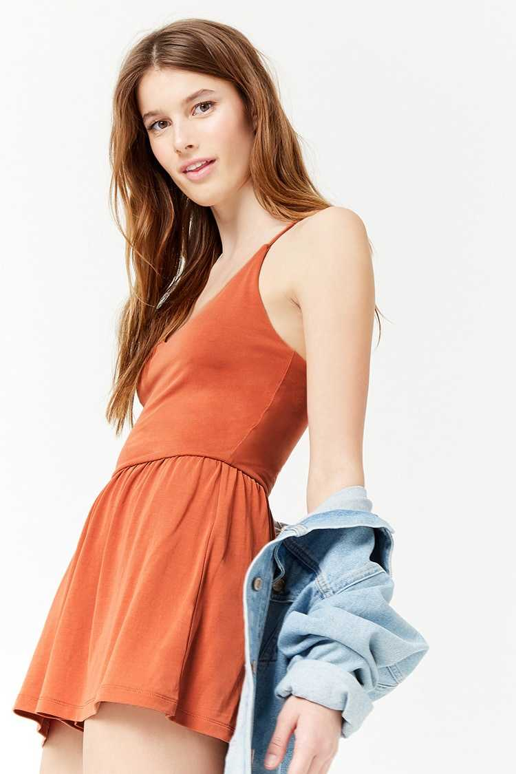 Forever21Women's Knit Camisole Top Playsuit - Apricot UK - GOOFASH