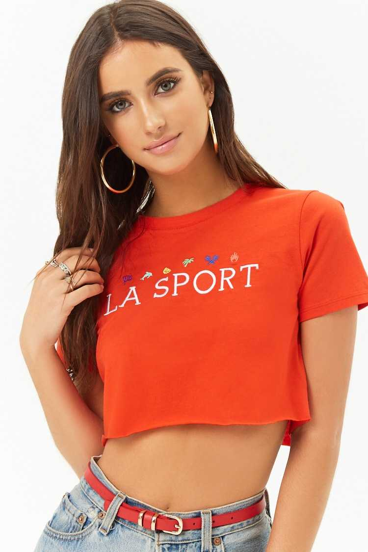 Forever21Women's LA Sport Graphic Cropped Tee Shirt - Red/White UK - GOOFASH
