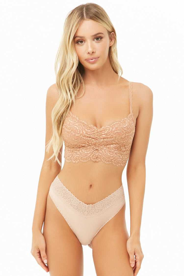 Forever21Women's Lace-Trim Hipster Panty - Nude UK - GOOFASH