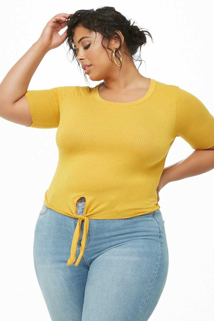 Forever21Women's Plus Size Button-Accent Ribbed Top - Mustard UK - GOOFASH