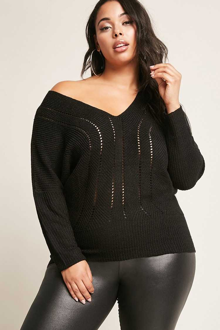 Forever21Women's Plus Size Open-Knit Top - Black UK - GOOFASH
