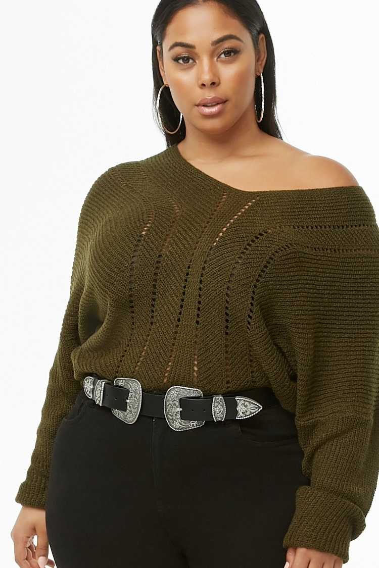 Forever21Women's Plus Size Open-Knit Top - Olive UK - GOOFASH