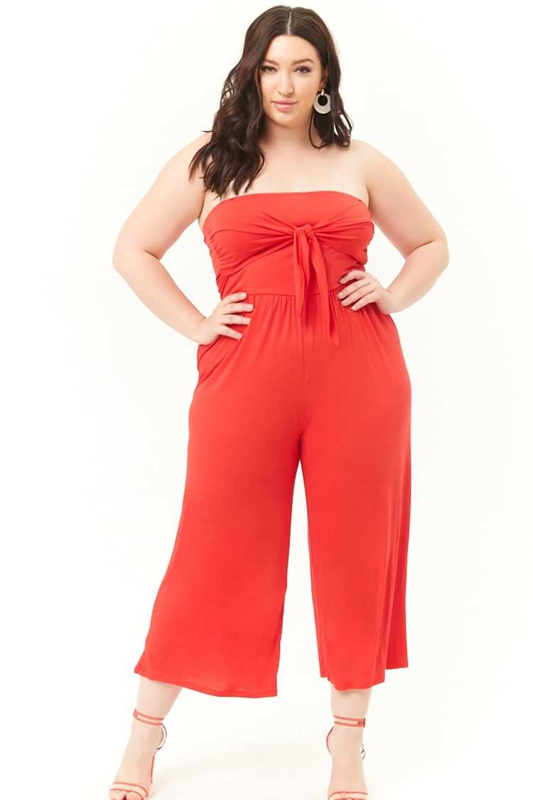 Forever21Women's Plus Size Strapless Knotted Jumpsuit - Red UK - GOOFASH