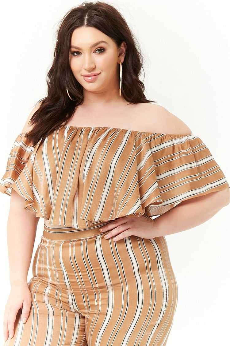 Forever21Women's Plus Size Striped Satin Flounce Top - Taupe UK - GOOFASH
