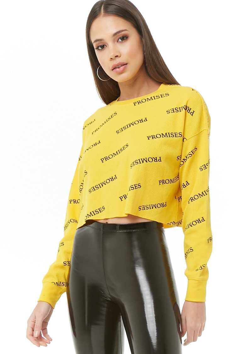 Forever21Women's Promises Graphic Waffle Knit Top - Yellow/Black UK - GOOFASH