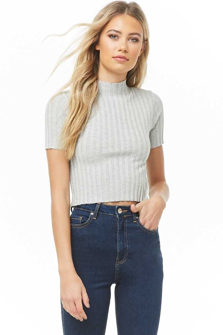 Forever21Women's Ribbed Jumper-Knit Top - Light Grey UK - GOOFASH