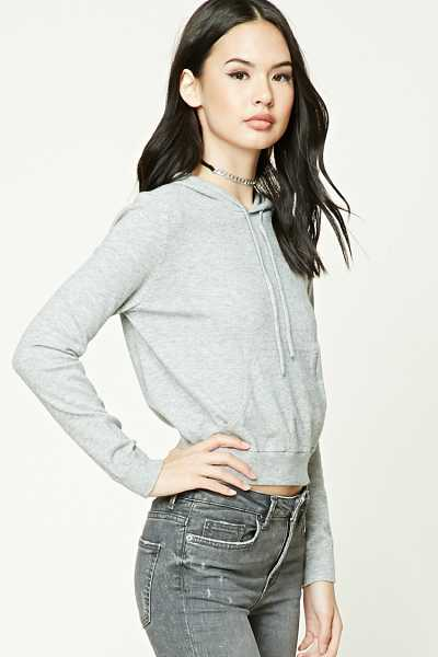 Forever21Women's Ribbed Knit Hoodie - Heather Grey UK - GOOFASH