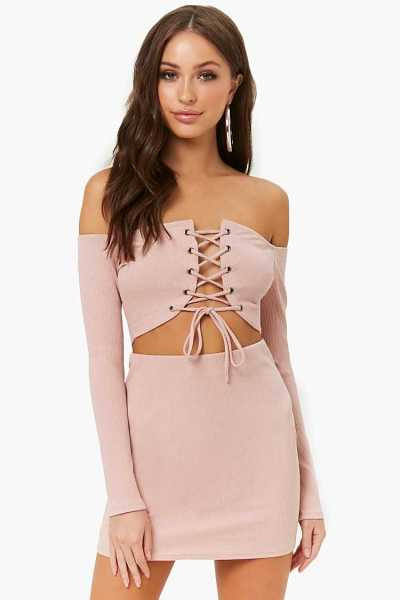 Forever21Women's Ribbed Lace-Up Crop Top & Skirt Set - Blush UK - GOOFASH