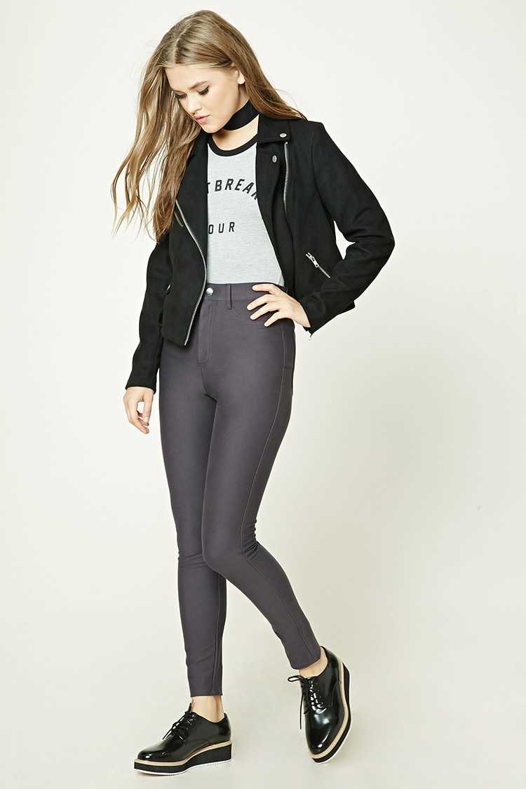 Forever21Women's Stretch-Knit Trousers - Navy UK - GOOFASH