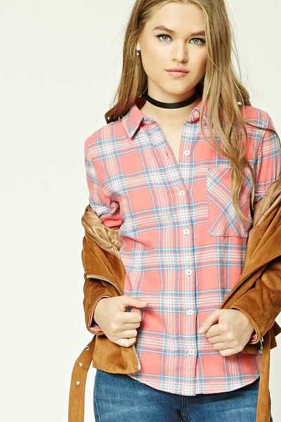 Forever21Women's Tartan Check Flannel Shirt - Coral/Teal UK - GOOFASH