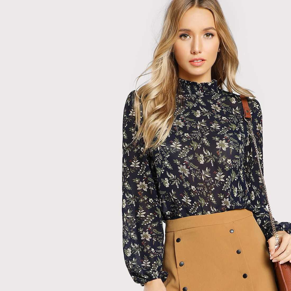 Frill Neck Bishop Sleeve Ditsy Floral Blouse - Shein - GOOFASH