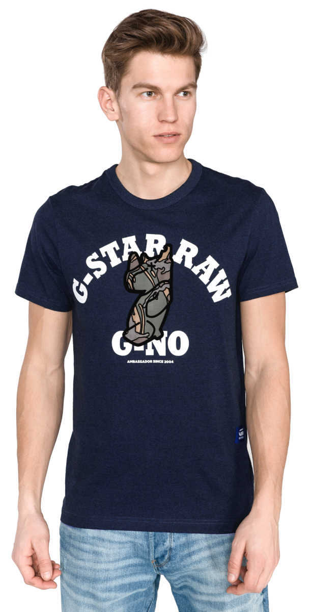 G-Star RAW Graphic 4 T-shirt Blue UK - GOOFASH