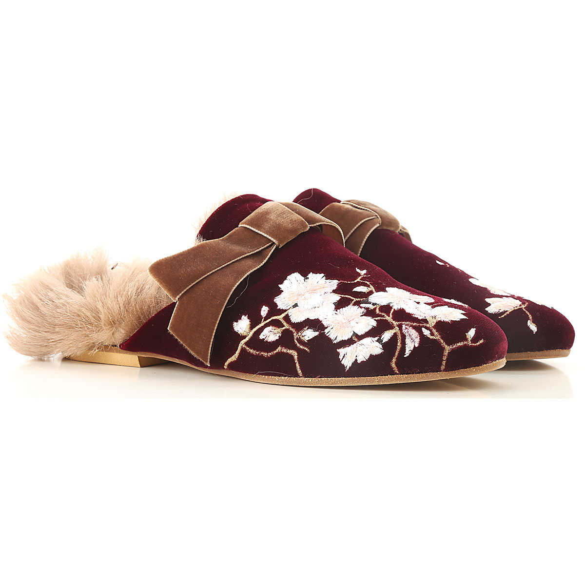 Gia Couture Ballet Flats Ballerina Shoes for Women On Sale in Outlet Burgundy SE - GOOFASH