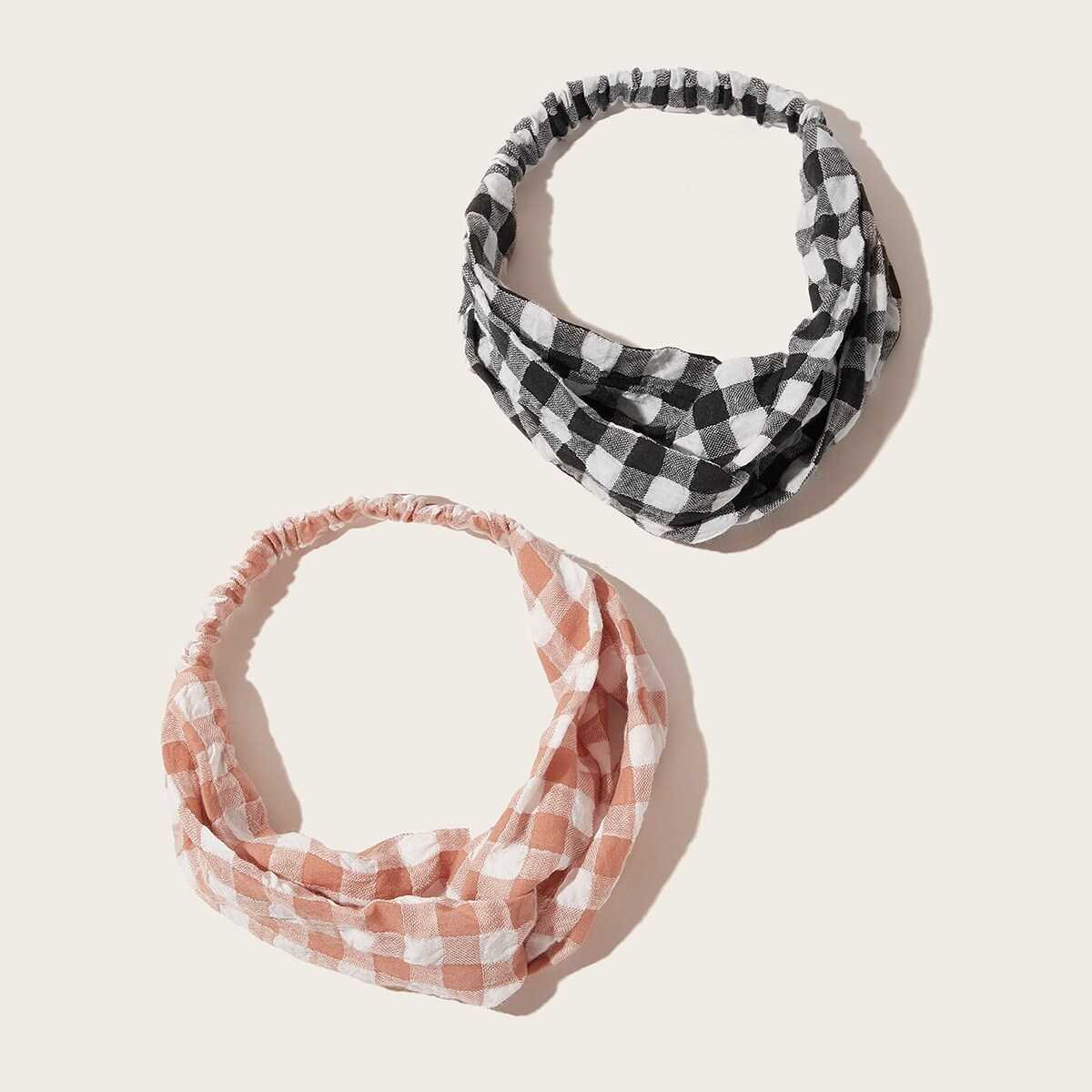 Gingham Headband 2pcs in Multicolor by ROMWE on GOOFASH