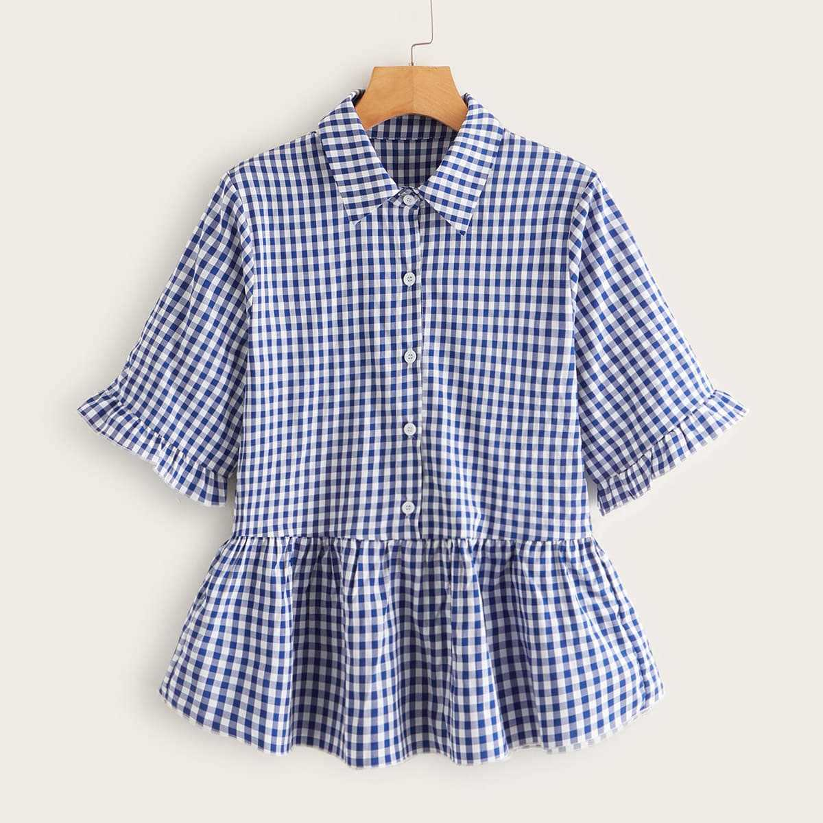 Gingham Ruffle Hem Smock Blouse in Blue by ROMWE on GOOFASH