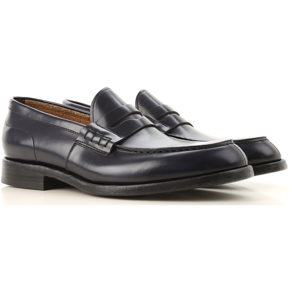 Green George Loafers for Men Blue Ink USA - GOOFASH