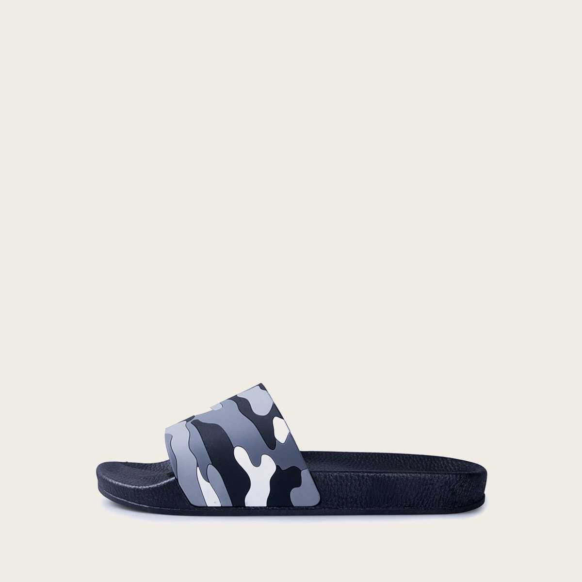 Guys Camouflage Print Open Toe Sliders in Grey by ROMWE on GOOFASH