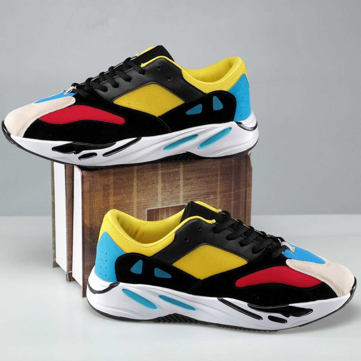 Guys Color Block Mesh Panel Trainers in Multicolor by ROMWE on GOOFASH