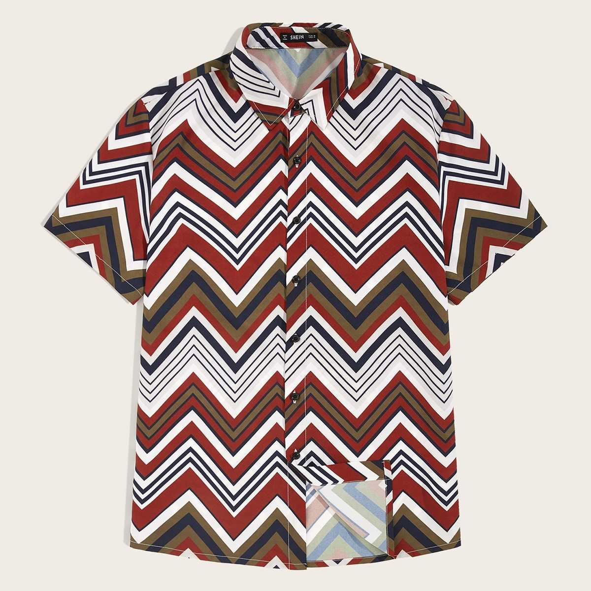 Guys Contrast Stitch Chevron Shirt in Multicolor by ROMWE on GOOFASH