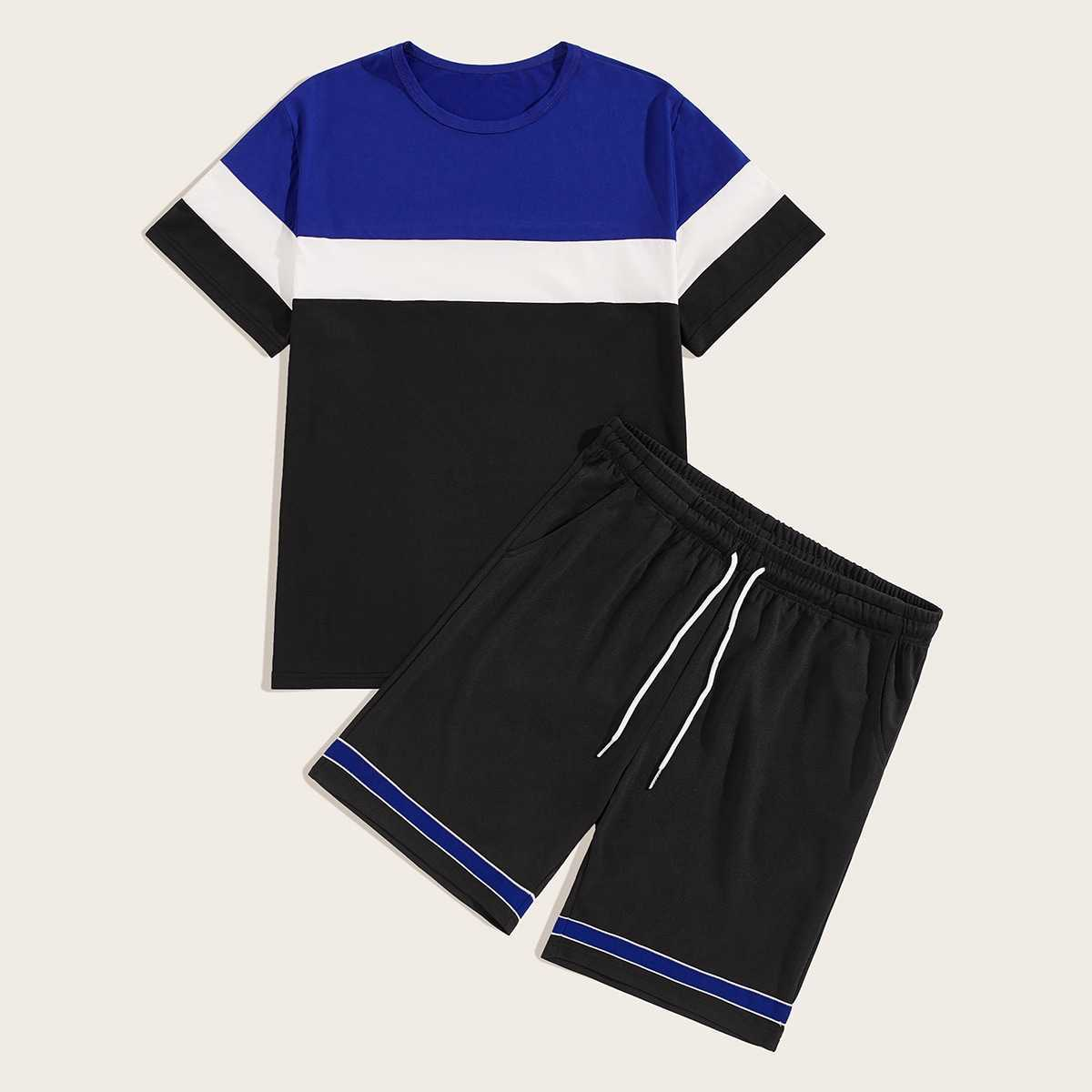 Guys Cut And Sew Tee With Drawstring Waist Shorts in Multicolor by ROMWE on GOOFASH