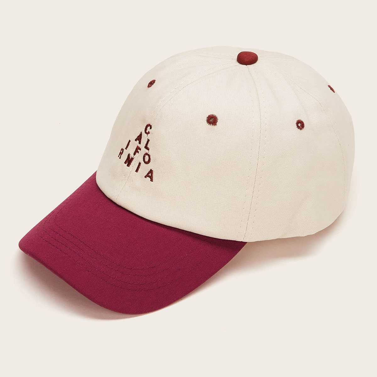 Guys Letter Embroidery Baseball Cap in Multicolor by ROMWE on GOOFASH