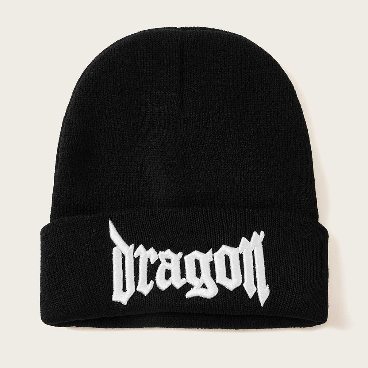 Guys Letter Embroidery Cuffed Beanie in Black by ROMWE on GOOFASH