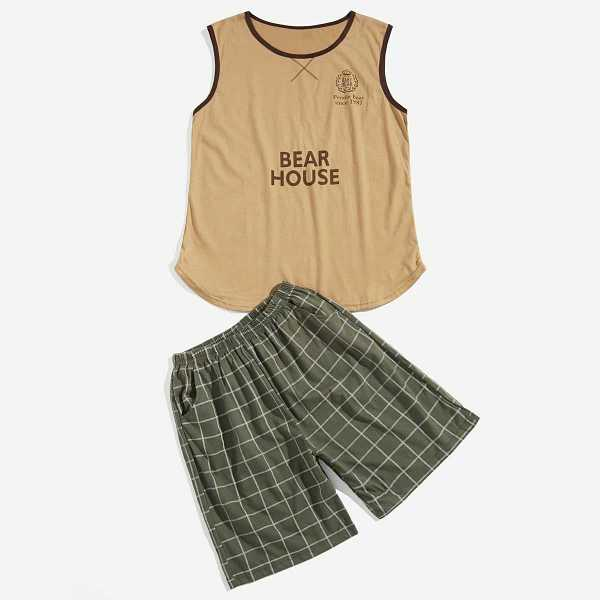 Guys Letter Print Plaid Pajama Set in Multicolor by ROMWE on GOOFASH