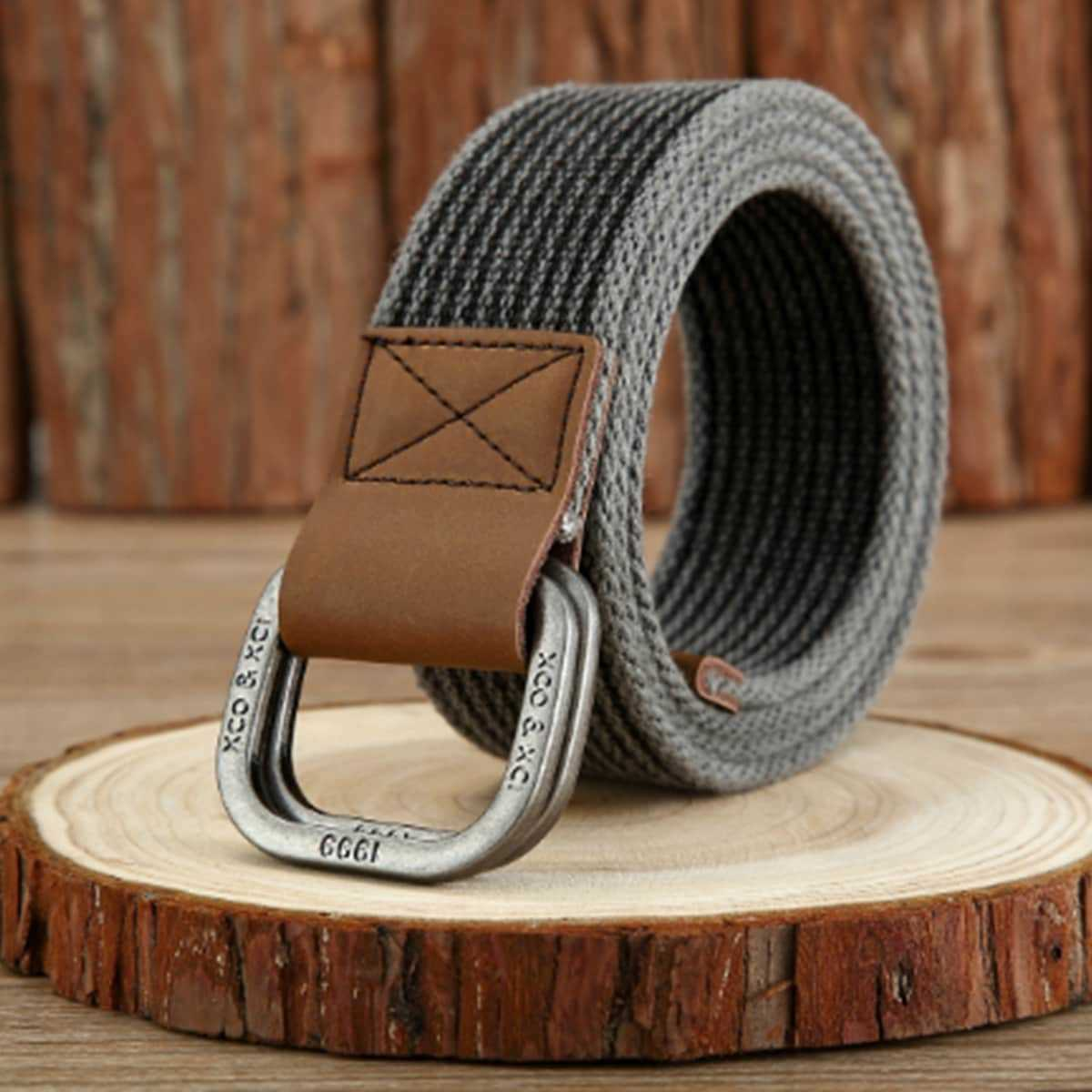 Guys Metal Buckle Canvas Belt in Army Green by ROMWE on GOOFASH